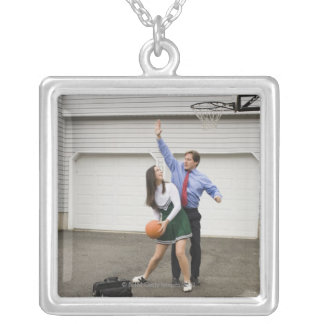 Cheerleader playing basketball with her father silver plated necklace