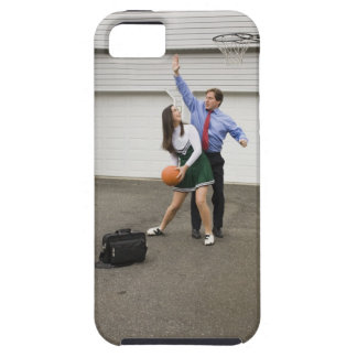Cheerleader playing basketball with her father tough iPhone 5 case