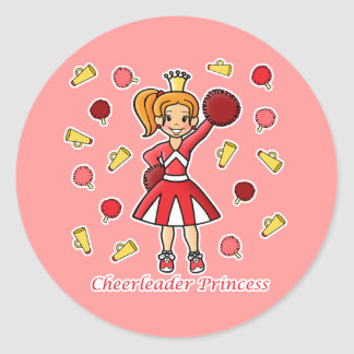 Cheerleader Princess Classic Round Sticker