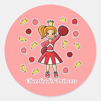 Cheerleader Princess Round Sticker