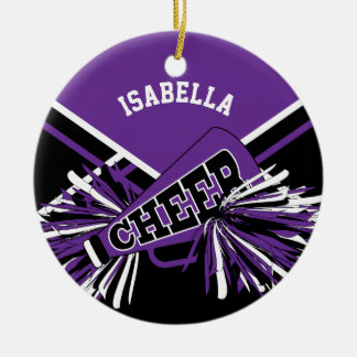 Cheerleader - Purple, Black and White Christmas Ornament