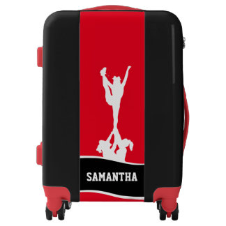 Cheerleader Red and Black personalized luggage