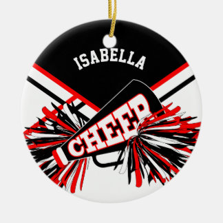 Cheerleader - Red, White and Black Christmas Ornament