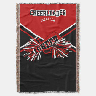 Cheerleader - Red, White and Black Throw Blanket