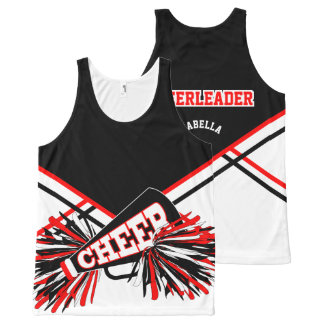 Cheerleader - Red, White & Black All-Over Print Tank Top