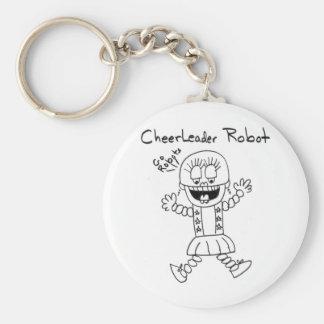 Cheerleader Robot Basic Round Button Key Ring