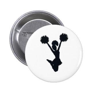 Cheerleader silhouette 6 cm round badge