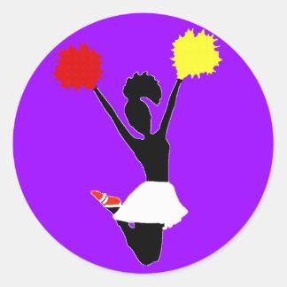 Cheerleader Silhouette Classic Round Sticker