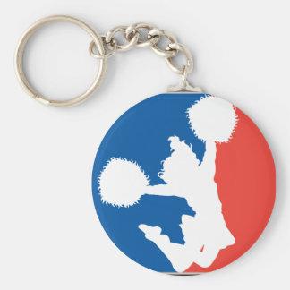 Cheerleader Silhouette Basic Round Button Key Ring