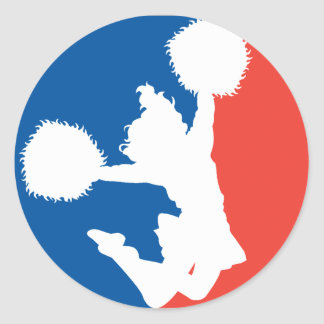 Cheerleader Silhouette Round Sticker