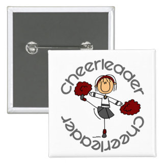 Cheerleader Stick Figure 15 Cm Square Badge