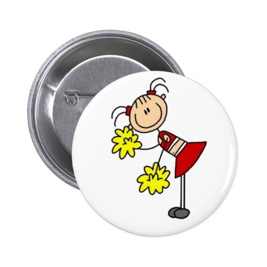 Cheerleader Stick Figure 6 Cm Round Badge