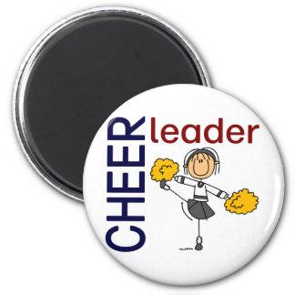 Cheerleader Stick Figure 6 Cm Round Magnet