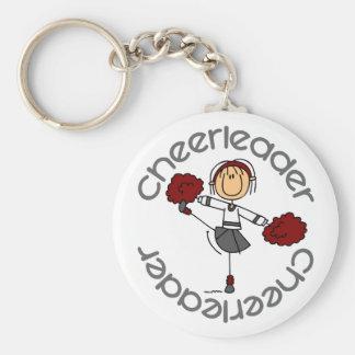 Cheerleader Stick Figure Basic Round Button Key Ring