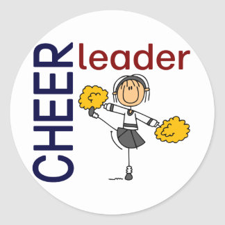 Cheerleader Stick Figure Classic Round Sticker