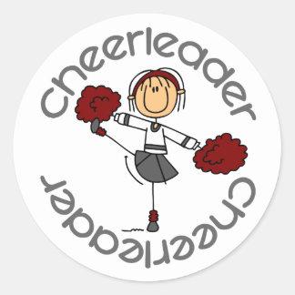 Cheerleader Stick Figure Round Sticker