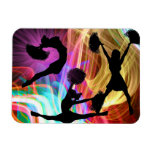 Cheerleaders in Electric Laser Show Rectangle Magnet