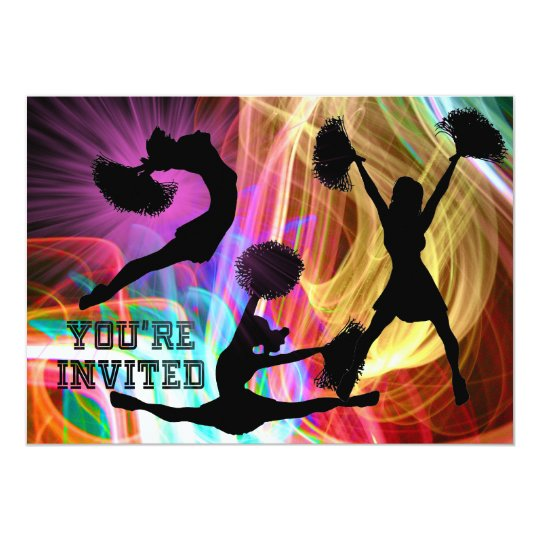 Cheerleaders in Electric Swirls You're Invited Card