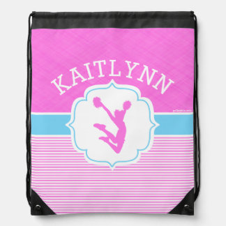 Cheerleading or Pom Pink Stripes with Baby Blue Drawstring Bags