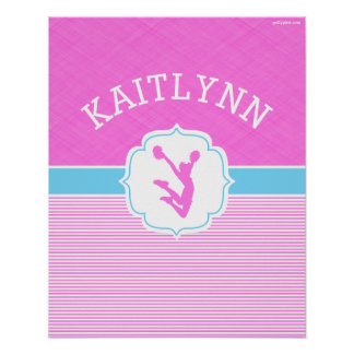 Cheerleading or Pom Pink Stripes with Baby Blue Poster