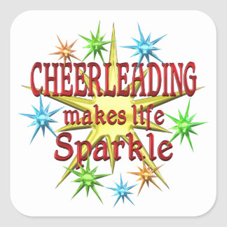 Cheerleading Sparkles Square Sticker