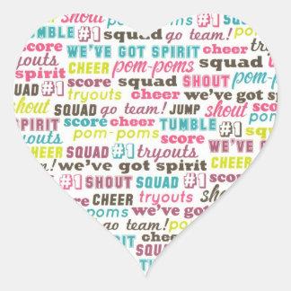 Cheerleading Spirit  Heart Sticker Seal