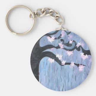 Cheerry Blossoms in the Rain Basic Round Button Key Ring