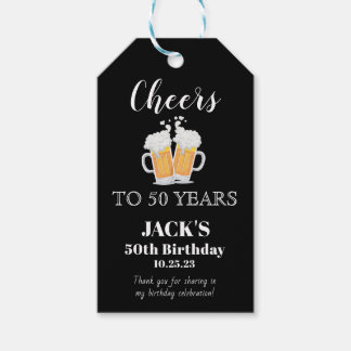 Cheers 50th Birthday Favor | Gift Tags