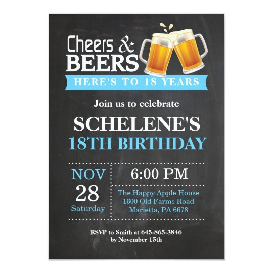 Cheers And Beers 18th Birthday Invitation Card