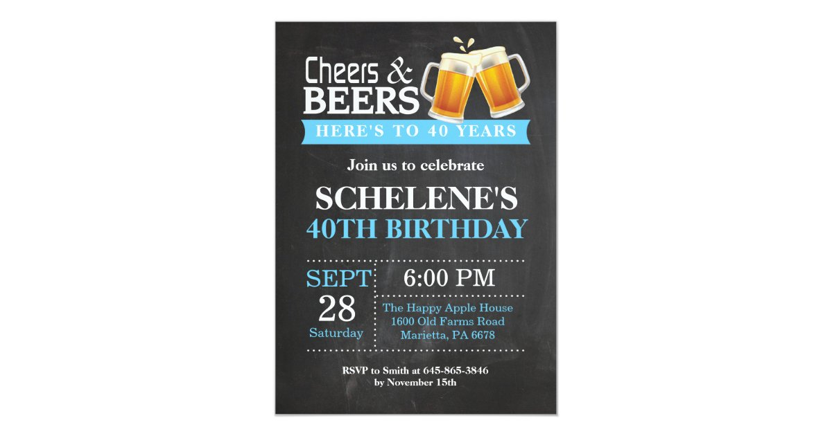 Cheers and Beers 40th Birthday Invitation Card | Zazzle.co.uk