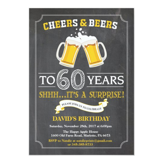 Cheers and Beers 60th Birthday Invitation Card