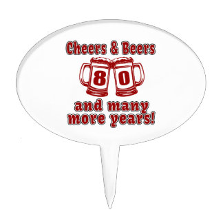Cheers And Beers 80 Birthday Designs Cake Toppers