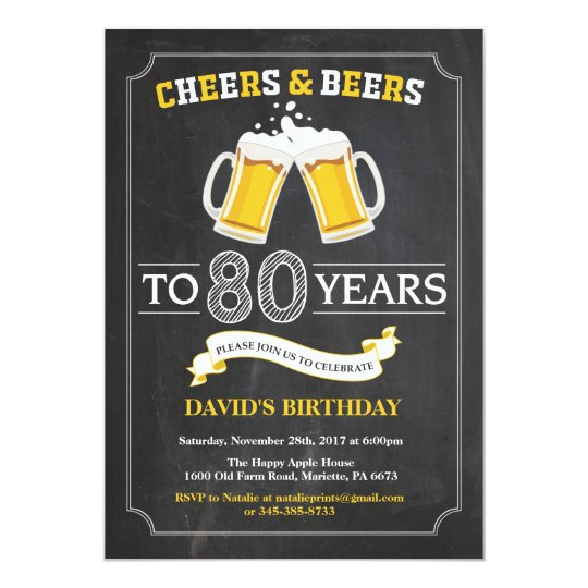 Cheers and beers 80th birthday invitation card zazzle cheers and beers 80th birthday invitation card stopboris Choice Image