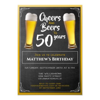 Cheers And Beers Birthday Party Black And Gold Invitation