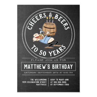 Cheers And Beers Birthday Party Black And White Invitation