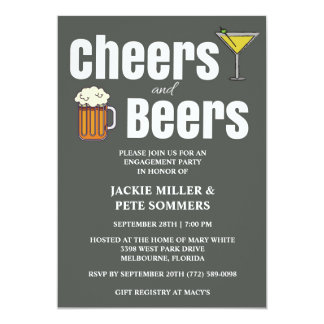 Cheers and Beers Engagement Party Invitation