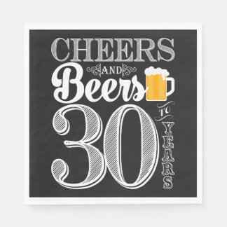 Cheers and Beers to 30 Years Luncheon Napkins Paper Napkins