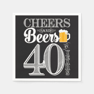 Cheers and Beers to 40 Years Cocktail Napkins Disposable Serviettes