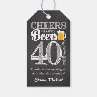 Cheers and Beers to 40 Years Gift Tags