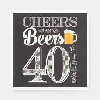 Cheers and Beers to 40 Years Luncheon Napkins Disposable Napkin