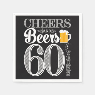 Cheers and Beers to 60 Years Cocktail Napkins Disposable Napkin