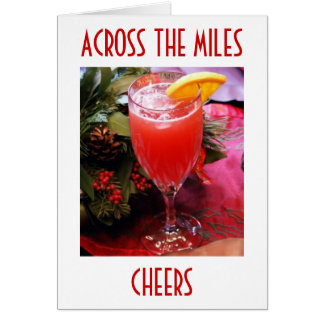 CHEERS AND JOY SENT ACROSS MILES CHRISTMAS CARD