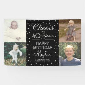 Cheers Any Year Birthday 4 Photo Black and White Banner