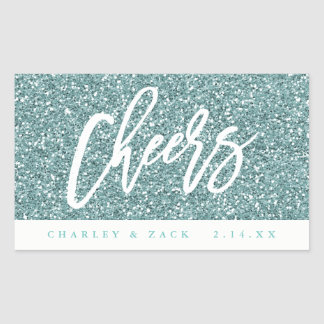 Cheers Aqua Glitter Mini Wine Mini Champagne Label Rectangular Sticker