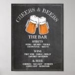 Cheers Beers Bar Sign Wedding Reception Poster