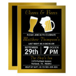 Cheers & Beers Black & Gold Bachelor Party 13 Cm X 18 Cm Invitation Card