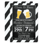 Cheers & Beers Chalkboard Bachelor Party 13 Cm X 18 Cm Invitation Card