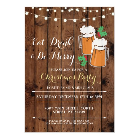 Cheers Beers Christmas Party Holly Invitation