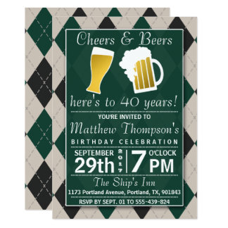 Cheers & Beers Trendy Green Birthday Party Card