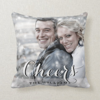 CHEERS Black & White Script Modern Custom Photo Throw Pillow